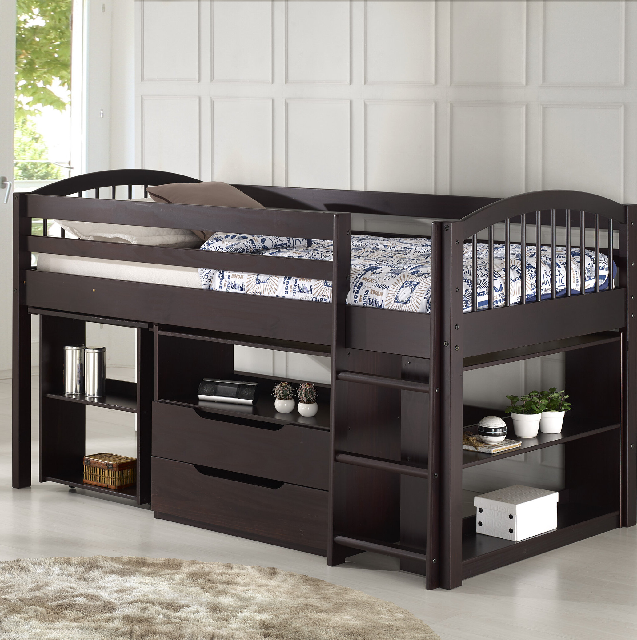 Picture of: Zoomie Kids Abigail Twin Low Loft Bed With Desk And Storage Reviews