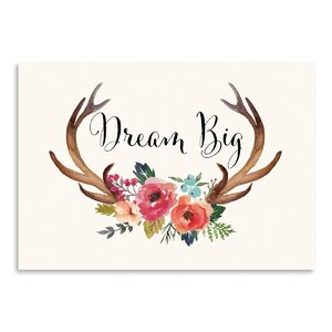 'Dream Big Antlers' Graphic Art Print by Mistana