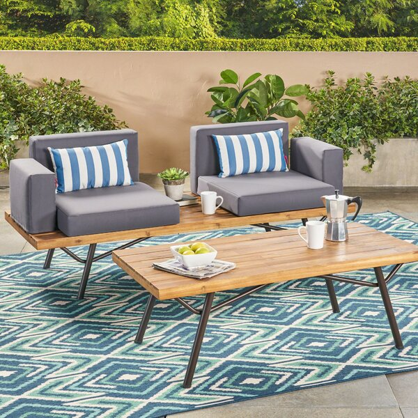 Beaty Acacia Wood 2 Piece Conversation Set with Cushions by Williston Forge
