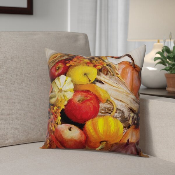 Fall Cornucopia Throw Pillow by The Holiday Aisle