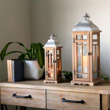 2 Piece Square Wood Lantern Set by Bloomsbury Market