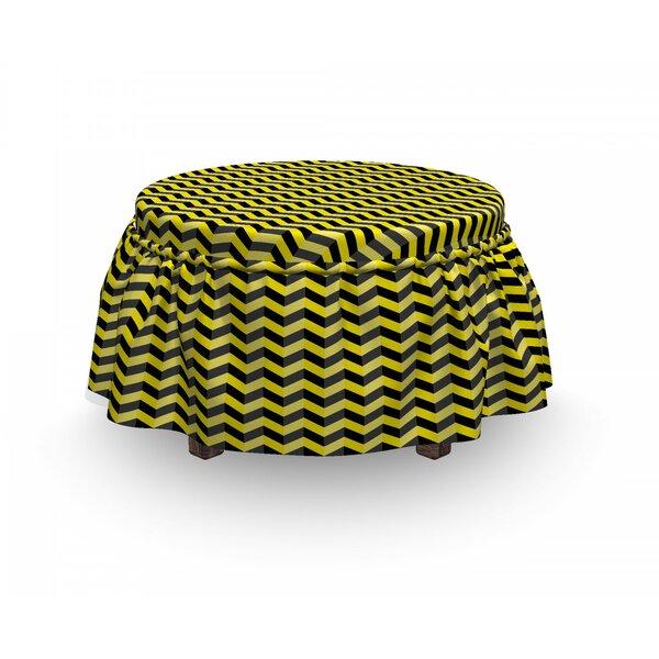 Review Chevron Warning Sign 2 Piece Box Cushion Ottoman Slipcover Set