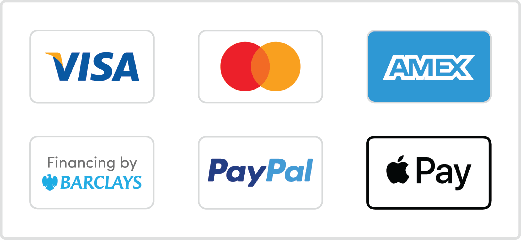 Visa Mastercard AMEX Paypal ApplePay Barclays