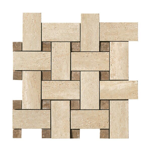 Travertini Random Sized Porcelain Mosaic Tile in Cream by Samson