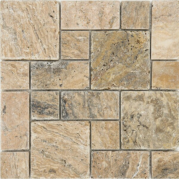 Scabos Roman Pattern Tumbled Random Sized Stone Mosaic Tile by Parvatile