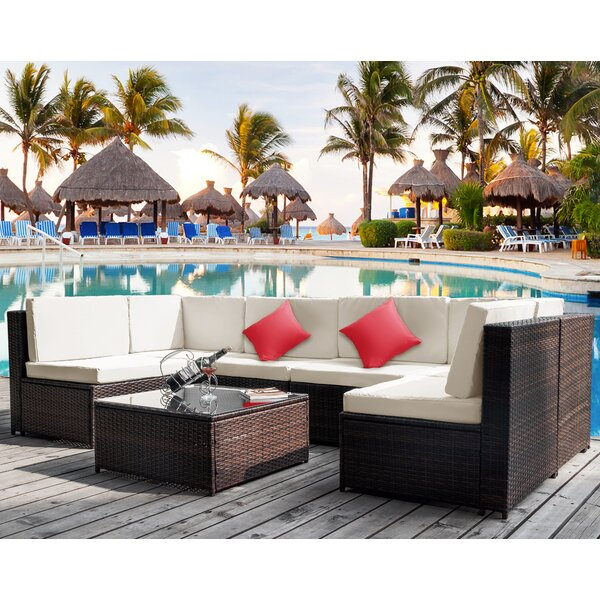 Carlinville 7 Piece Rattan Sectional Seating Group with Cushions by Latitude Run