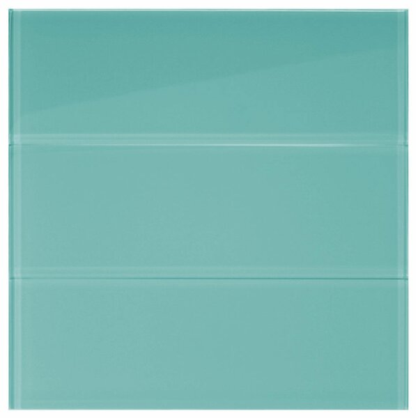 Water 4 x 12 Glass Mosaic Tile in Aqua by CNK Tile