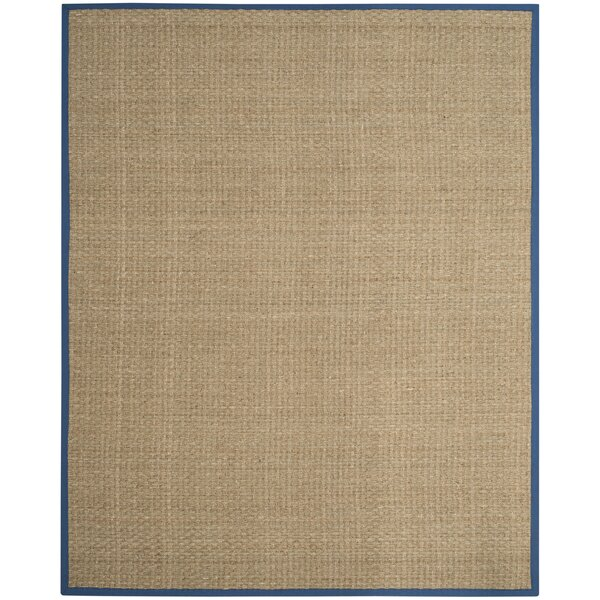 Campbellton Fiber Natural/Navy Area Rug by Breakwater Bay