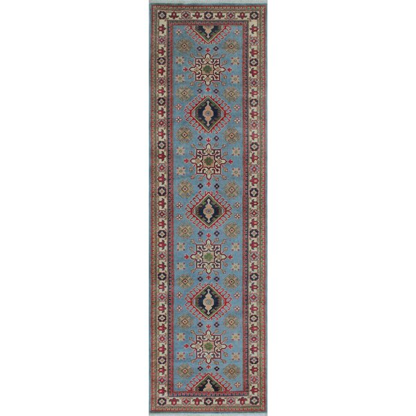Creekside Kazak Hand Knotted Wool Blue Area Rug by Canora Grey
