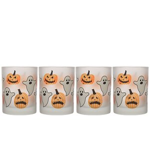 Frosted Halloween 14 oz. Double Old Fashion Glass (Set of 4)