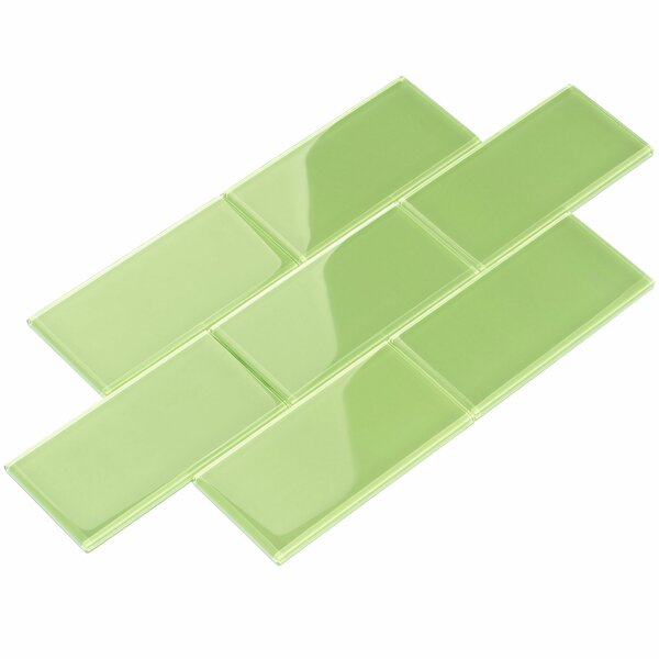 3 x 6 Glass Subway Tile in Green by Giorbello