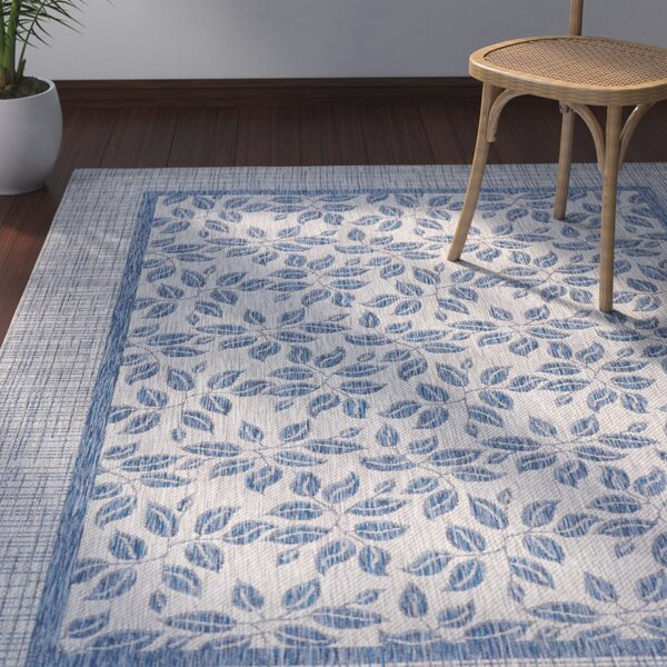 Key Haven Ivory/Blue Indoor/Outdoor Area Rug by Bay Isle Home