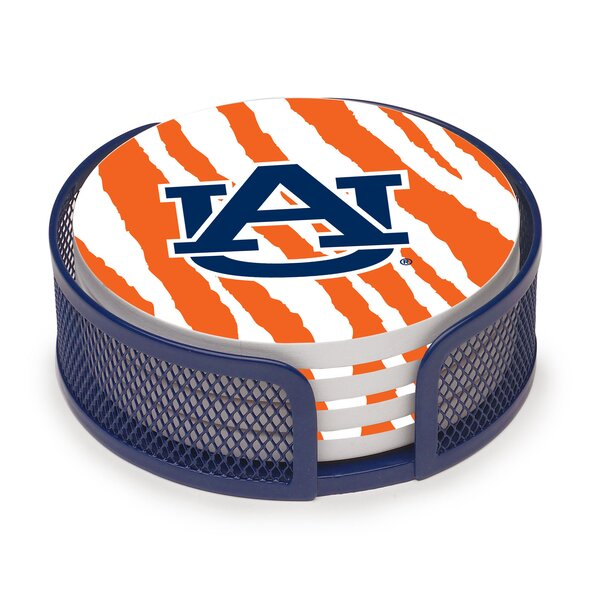 5 Piece Auburn University Stripes Collegiate Coaster Gift Set by Thirstystone