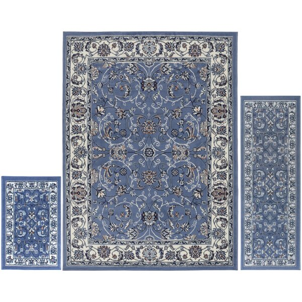 Gallaher 3 Piece Blue Area Rug Set by Charlton Home