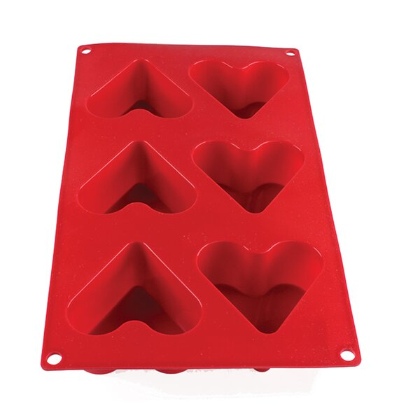 6 Cup Non-Stick 4.4 Oz Heart High Heat Silicone Baking Mold by Thunder Group Inc.