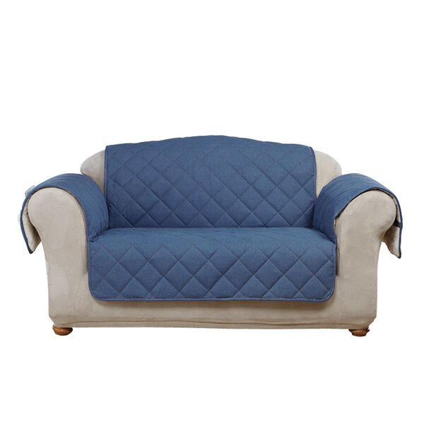 Denim Sherpa Box Cushion Loveseat Slipcover by Sure Fit