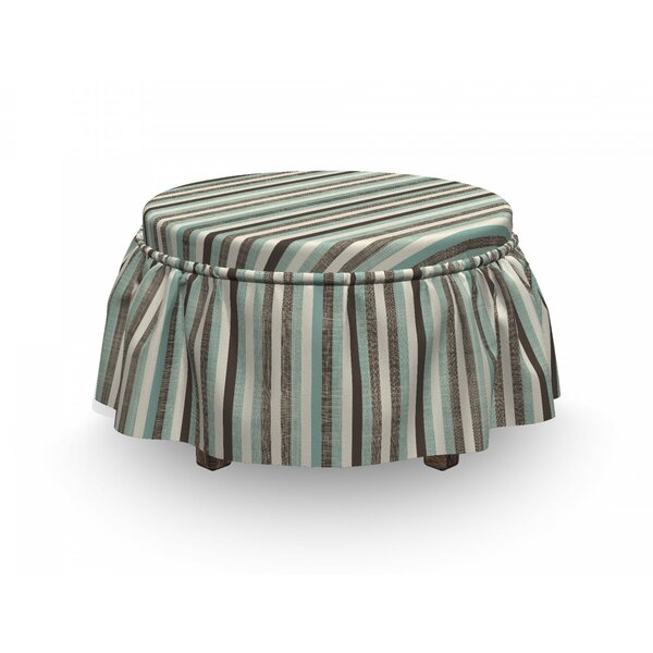 Retro Striped Classical Old 2 Piece Box Cushion Ottoman Slipcover Set By East Urban Home