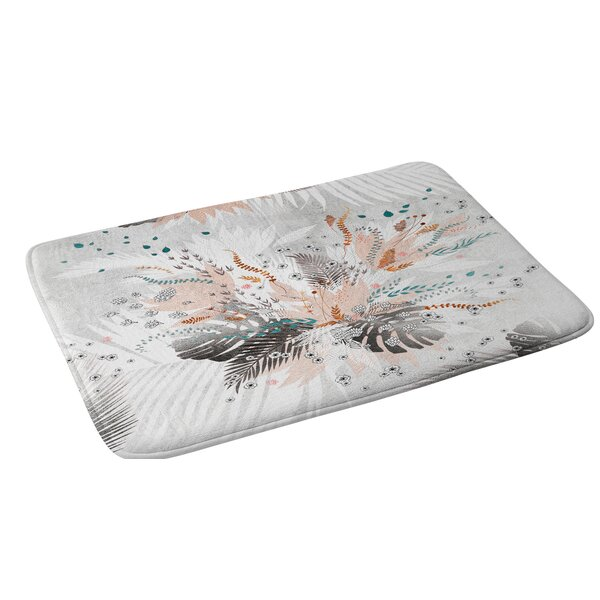 Iveta Abolina Tropical Silver Floral Bath Rug