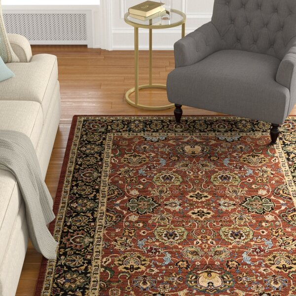 Charleson Persimmon/Black Area Rug by Astoria Grand