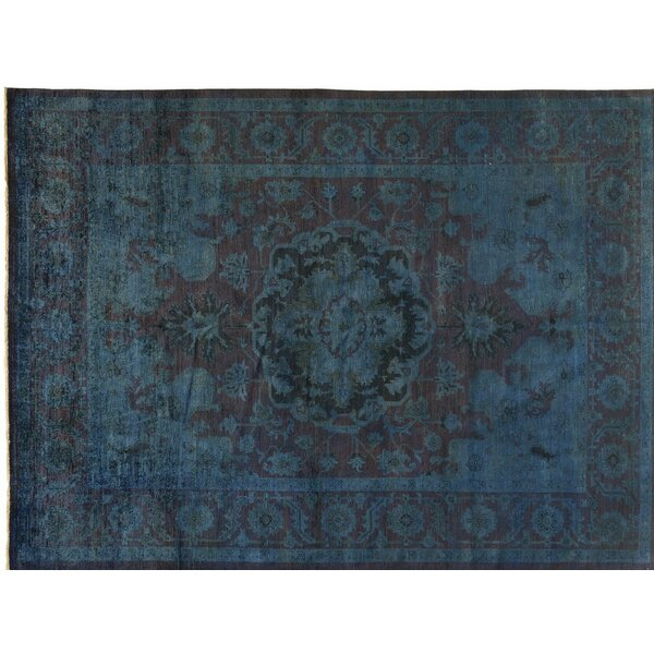 One-of-a-Kind Hand-Knotted Blue 9' x 12' Wool Area Rug