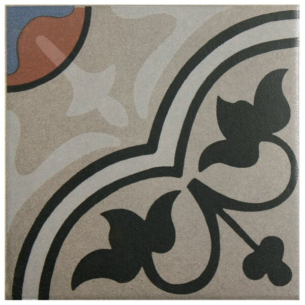 Cementa 7 x 7 Ceramic Tile in Beige/Charcoal by EliteTile