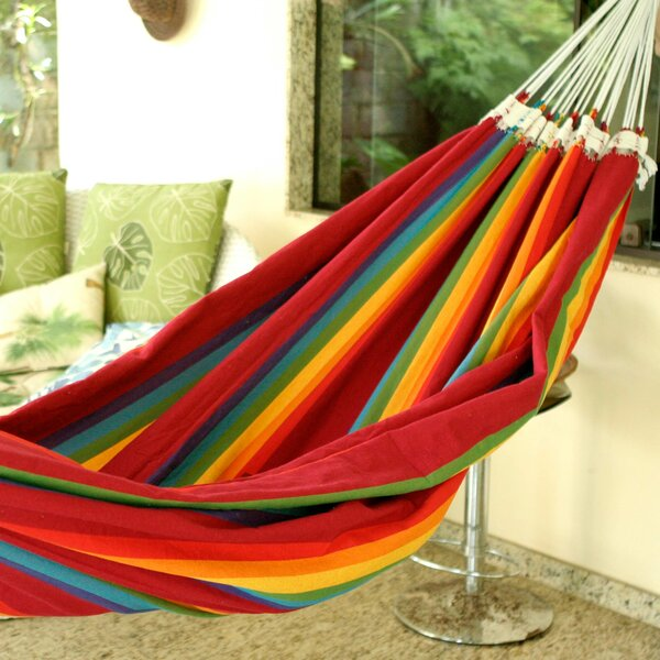 Double Person Fair Trade Striped Iracema Rainbow' Hand-Woven Brazilian Cotton Indoor And Outdoor Hammock by Novica Novica
