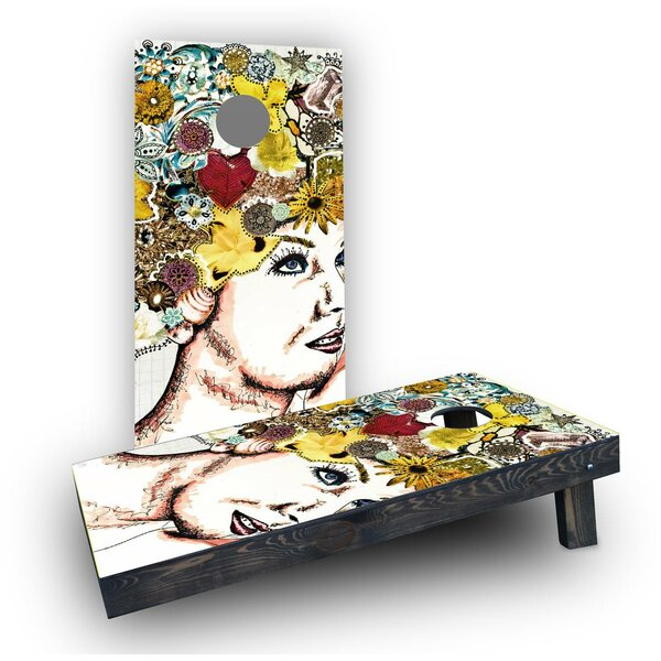 Lady with Flowers (Set of 2) by Custom Cornhole Boards