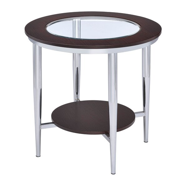 Lera Glass Inserted Top End Table By Wrought Studio