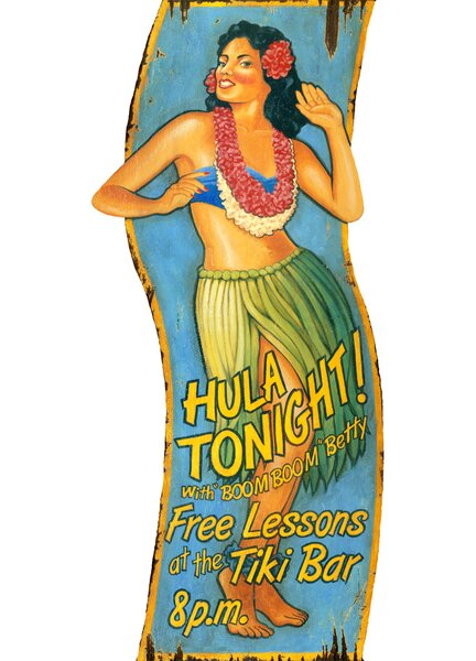 Hula Girl Vintage Advertisement Plaque by Bay Isle Home