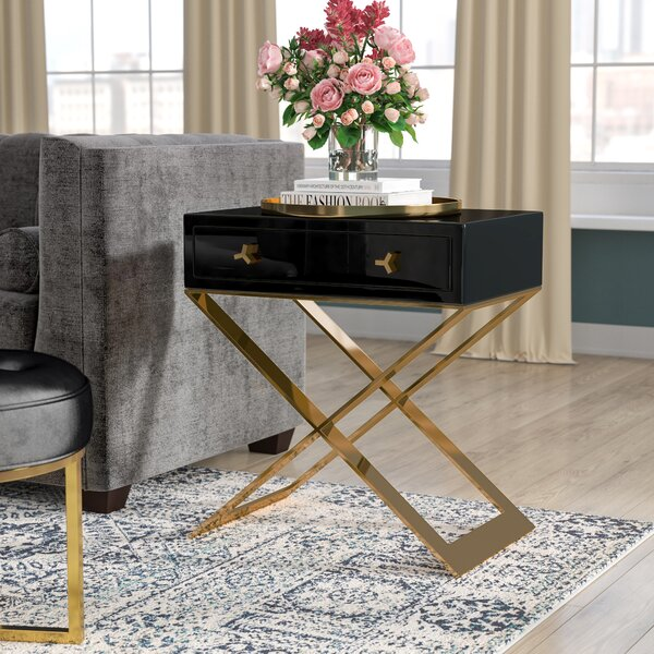Neria Cross Legs End Table With Storage By Willa Arlo Interiors