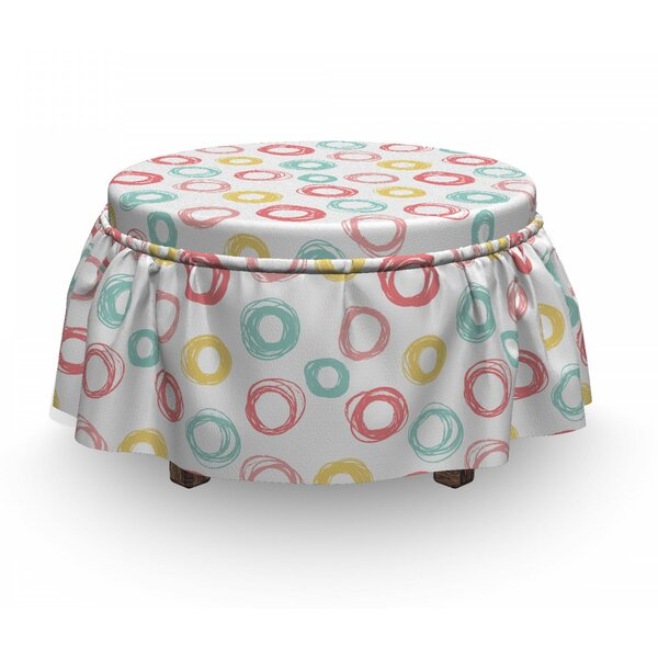 Doodle Circular Shapes Ottoman Slipcover (Set Of 2) By East Urban Home