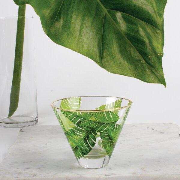 Jonas Stemless Botanical Leaf Martini Cocktail Glasses by Willa Arlo Interiors