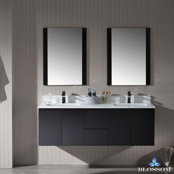 Maly 60 Wall-Mounted Double Bathroom Vanity Set with Mirror by Orren Ellis