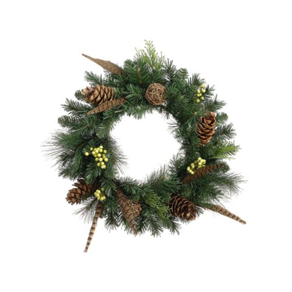 Pheasant Feather Artificial Christmas Wreath by Tori Home