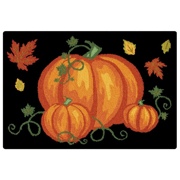 Pumpkin Patch Halloween Wool Black Area Rug by The