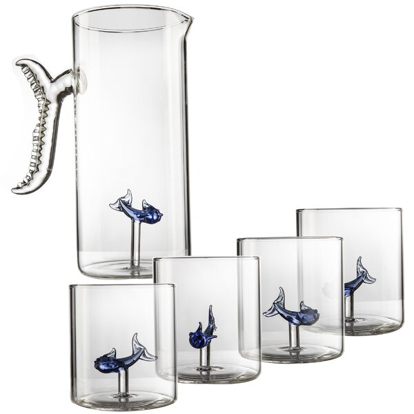 Candice Fish Pitcher 5 Piece Decanter Set by Breakwater Bay