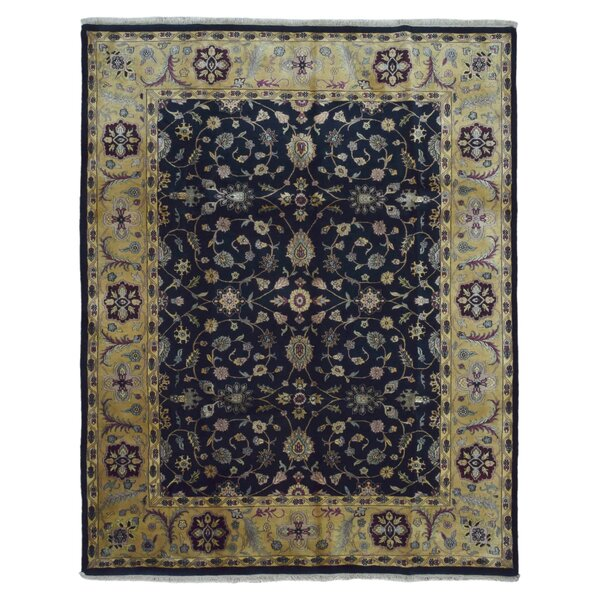 Slagen Oriental Hand Woven Rectangle Wool Navy Area Rug by Astoria Grand
