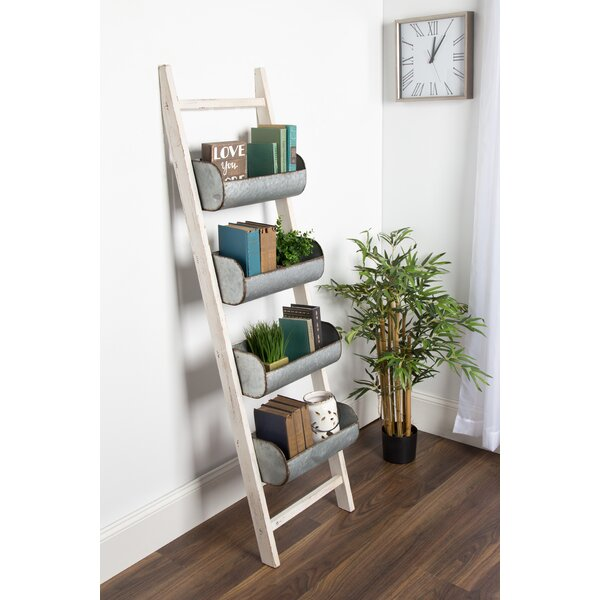 Pothos Wood and Metal Leaner Storage Bin 5.5 ft Decorative Ladder by Kate and Laurel