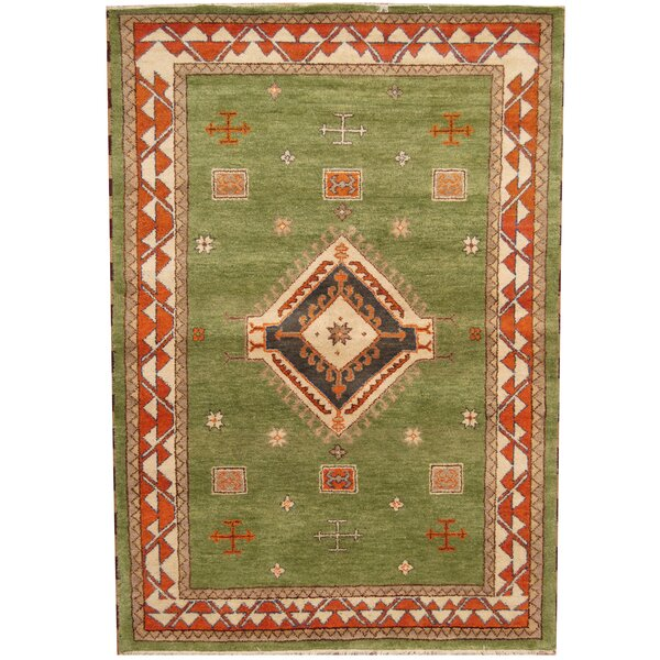 Kazak Hand-Knotted Green/Rust Area Rug by Herat Oriental