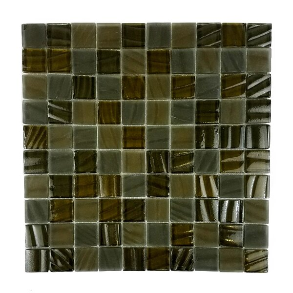 New Era 1.25 x 1.25 Glass and Slate Mosaic Tile in Brown Grizzly Bear by Abolos