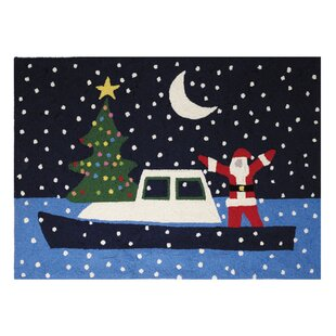 Graham Santa Boat Holiday Hand Hooked Wool Black Area Rug ByBreakwater Bay