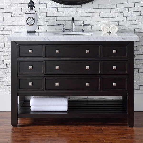 Kramer 48 Single Cerused Espresso Oak Bathroom Vanity Set with Drawers by Darby Home Co