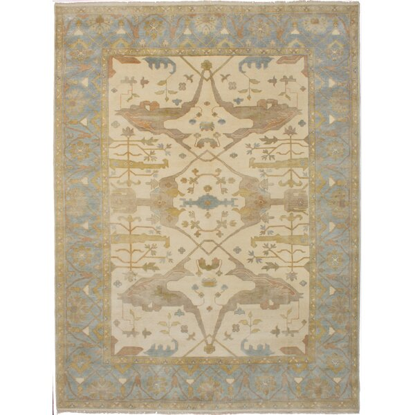 One-of-a-Kind Eile Hand-Knotted Wool Cream Area Rug by Isabelline