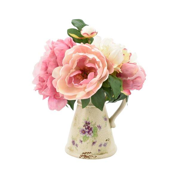Peony Bouquet Floral Arrangement by House of Hampton
