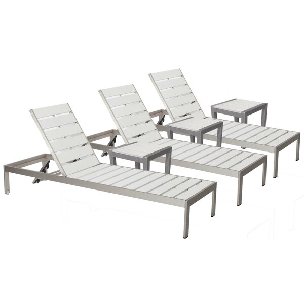 JSPH LRG 3 Chaise Lounge Set with Table by Wade Logan