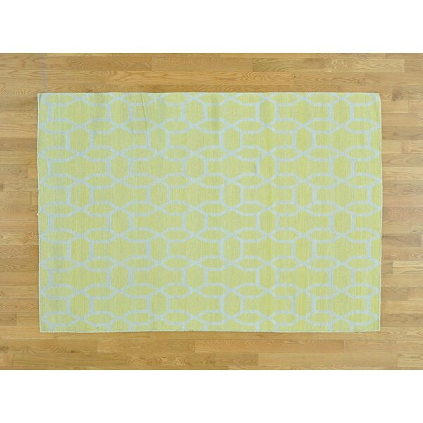 One-of-a-Kind Borchardt Reversible Handmade Kilim Yellow Wool Area Rug by Isabelline