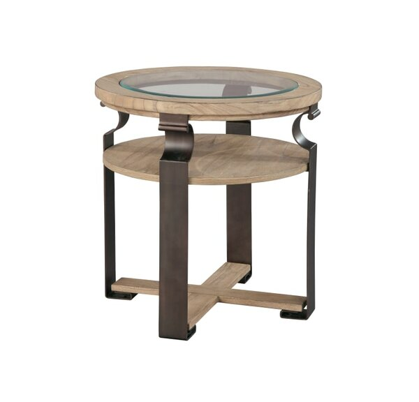 Alderete Metal and Wood End Table by Foundry Select