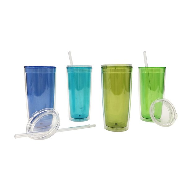Haledon BPA Free 20 oz. Plastic Travel Tumblers (Set of 4) by Highland Dunes