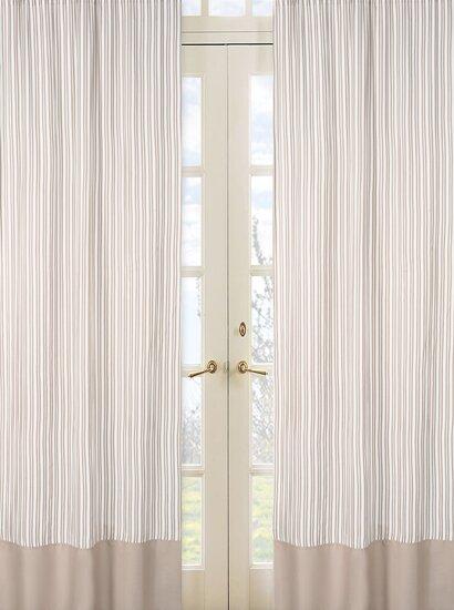 Little Lamb Striped Semi-Sheer Rod pocket Curtain Panels (Set of 2) by Sweet Jojo Designs