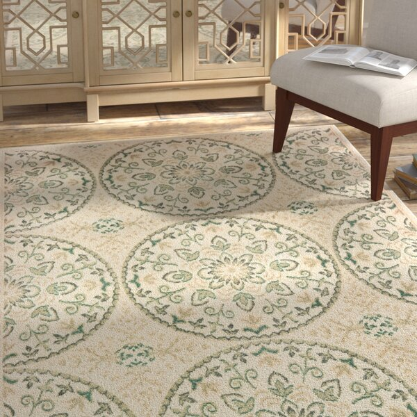 Shamrock Ivory/Blue Area Rug by Bungalow Rose